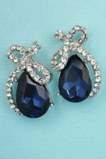 "Montana Navy/Clear Silver Lace/Pear Stone 1"" Post Earring"
