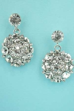 "Clear Silver Multiple Round Stone Circle Shape 1"" Post Earring"