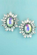 Aurora Borealis/Clear Silver Single Oval Stone Framed Earring 1""