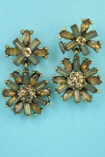 "Light Colorado/Dark Green Gold Star Shape 1.2"" Post Earring"