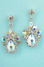 "Aurora Borealis/Clear Silver Middle Framed 1.3"" Post Earring"