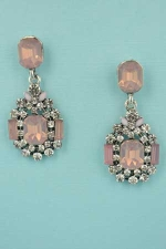 "LT. Rose/Clear Silver Framed Emerald Stone 1.2"" Post Earring"