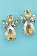 "Light Colorado/Clear Silver Pineapple Shape 1"" Post Earring"