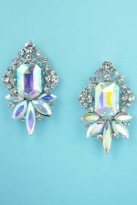 "Aurora Borealis/Clear Silver Pineapple Framed Shape 1.5"" Post Earring"