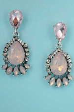 "Lt. Rose/Clear Silver Framed Bottom Medium Middle Pear Stone 1.5"" Post Earring"