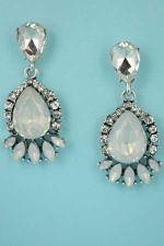 "Opal/Clear Silver Framed Bottom Medium Midle Pear Stone 1.5"" Post Earring"