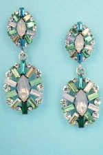 """Multiple Colors/Silver Two Framed Pieces 2.2"""" Post Earring"""
