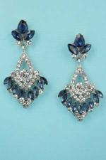 """Montana Navy/Clear Silver Framed Bottom Marquise Stone 1.8"""" Post Earring"""