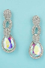 "Aurora Borealis/Clear Silver Medium Pear Stone 1.8"" Post Earring"