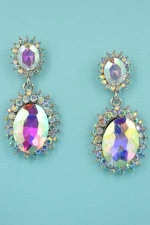 "Aurora Borealis/Silver Framed Middle Oval Stone 1.5"" Post Earring"