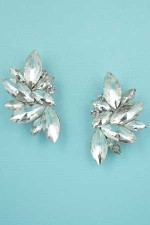 "Clear Silver Multiple Marquise Stone 1.2"" Post Earring"