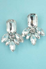 "Clear/Silver Emerald Pineaplle Shape 1.3"" Post Earring"