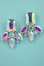 "Aurora Borealis/Silver Emerald Pineaplle Shape 1.3"" Post Earring"