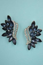 "Montana Navy/Clear Silver Framed Marquise Stone 1.3"" Post Earring"