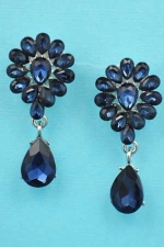 "Montana Navy/Silver Multiple Pear Stone Dancing 1.5"" Post Earring"