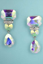 "Aurora Borealis/Clear Silver Three Stone Dancing 2"" Earring"