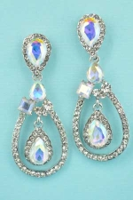 "Aurora Borealis/Clear Silver Middle Dancing Stone 1.8"" Post Earring"