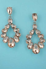 "Light Peach/Silver 12 Pear Stone Circle Shape 1.5"" Post Earring"