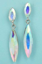 "Aurora Borealis/Silver Medium/Big Marquise Stone 2"" Post Earring"