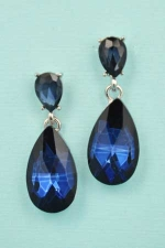 "Sapphire/Silver Two Pear Stone 1.5"" Post Earring"