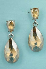 "Light Colorado/Silver Two Pear Stone 1.5"" Post Earring"