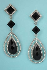 """Jet/Clear Silver Square/Drop Stone 2.2"""" Post Earring"""