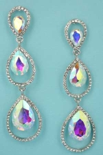 "Aurora Borealis/Clear Silver Two Pear Shape/Stone 1.5"" Post Earring"