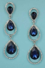 """Montana Navy/Clear Silver Two Pear Shape/Stone 1.5"""" Post Earring"""