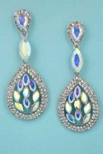"Aurora Borealis/Clear Silver Drop Shape Marquise Stone 2.2"" Post Earring"