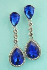 """Sapphire/Clear Silver Two Pear Stone Linked Round Stone 2.1"""" Post Earring"""
