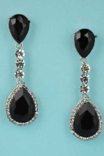 "Jet/Clear Silver Two Pear Stone Linked Round Stone 1.8"" Post Earring"