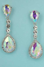 "Aurora Borealis/Clear Silver Two Pear Stone Linked Round Stone 2.1"" Post Earring"