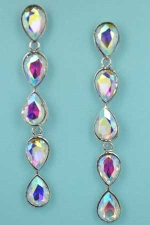 "Aurora Borealis/Silver Five Pear Stone 2.5"" Post Earring"