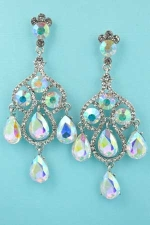 "Aurora Borealis/Clear Silver Two Dancing Stones 2.5"" Post Earring"