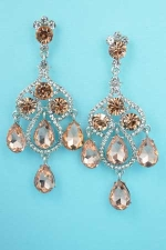 """Light Peach/Clear Silver Two Dancing Stones 2.5"""" Post Earring"""