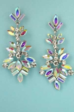 "Aurora Borealis/Clear Silver Framed Multiple Stone 2.3"" Earring"