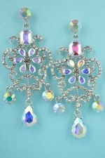 "Aurora Borealis/Clear Silver Framed Middle Flower 2.5"" Post Earring"