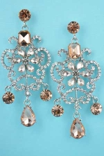 "Light Peach/Clear Silver Framed Middle Flower 2.5"" Post Earring"