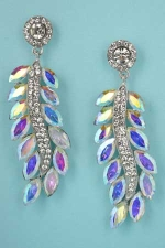 "Aurora Borealis/Clear Silver Feather Shape 2.5"" Post Earring"