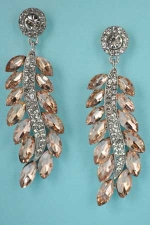 """Light/Clear Silver Feather Shape 2.5"""" Post Earring"""
