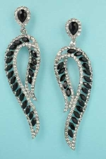 """Jet/Clear Silver P Shape Marquise Stone 2.5"""" Post Earring"""