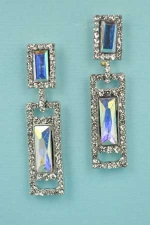 "Aurora Borealis/Clear Silver Two Baguette Stone 2"" Post Earring"