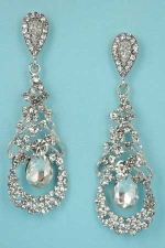 """Clear/Silver Framed Center Dancing Stone 2.5"""" Post Earring"""