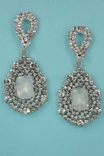"Opal/Clear Silver Center Emerald Stone Framed 2"" Post Earring"