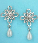 "Pearl/Clear Ivory Top Flower Shape Dangling Pearl 1.5"" Post Earring"