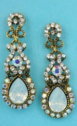 "Multiple Colors/Antiquegold Multiple Shape/Stones 2"" Post Earring"