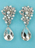 """Pearl/Clear Silver Top Framed Bottom Pear Stone 1.3"""" Post Earring"""