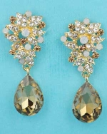 "Light Colorado/Opal Gold Top Framed Bottom Pear Stone 1.5"" Post Earring"
