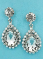 "Pearl/Clear Top Round / Bottom Pear Shape Framed Dangling 1.5"" Post Earring"