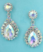 "Aurora Borealis/Clear Silver Top Round Bottom Pear Stone Danlging 1.5"" Post Earring"